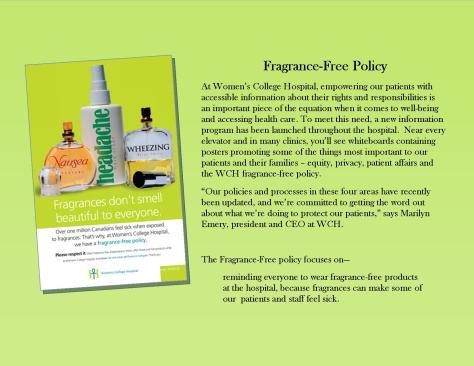 Fragrance free policy Canada Hospital