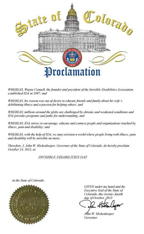 colorado proclamation INVISIBLE DISABILITIES DAY
