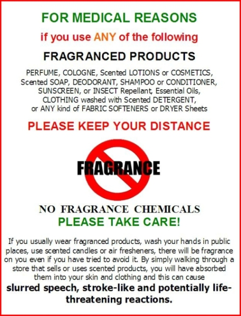 fragrance sign for-medical-reasons